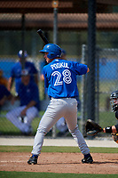 Toronto Blue Jays third baseman Nick Podkul (28) at bat during a Florida Instructional League game against the Pittsburgh Pirates on September 20, 2018 at the Englebert Complex in Dunedin, Florida.  (Mike Janes/Four Seam Images)
