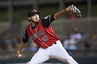 Hickory Crawdads relief pitcher Joe Barlow (18) in action against the Kannapolis Intimidators at L.P. Frans Stadium on July 20, 2018 in Hickory, North Carolina. The Crawdads defeated the Intimidators 4-1. (Brian Westerholt/Four Seam Images)