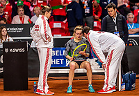 The Hague, The Netherlands, Februari 8, 2020,    Sportcampus, FedCup  Netherlands -  Balarus, Seccond match on Saturday:  Aliaksandra Sasnovich (BLR) is injured and receives tretement<br /> Photo: Tennisimages/Henk Koster