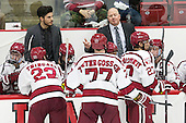 Colin Blackwell (Harvard - 63), Rob Rassey (Harvard - Assistant Coach), Devin Tringale (Harvard - 22), Luke Esposito (Harvard - 9), Lewis Zerter-Gossage (Harvard - 77), Ted Donato (Harvard - Head Coach), Viktor Dombrovskiy (Harvard - 27), Jimmy Vesey (Harvard - 19) - The Harvard University Crimson defeated the visiting Rensselaer Polytechnic Institute Engineers 5-2 in game 1 of their ECAC quarterfinal series on Friday, March 11, 2016, at Bright-Landry Hockey Center in Boston, Massachusetts.