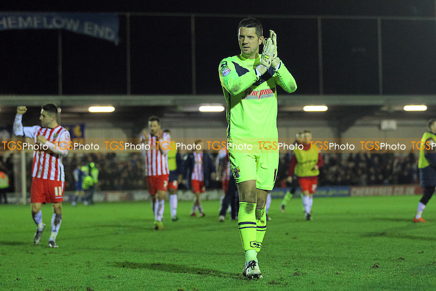 Chris Day of Stevenage thanks the travelling fans after the game during AFC Wimbledon vs Stevenage, Sky Bet League 2 Football at the Cherry Red Records Stadium, Kingston, England on 12/12/2015
