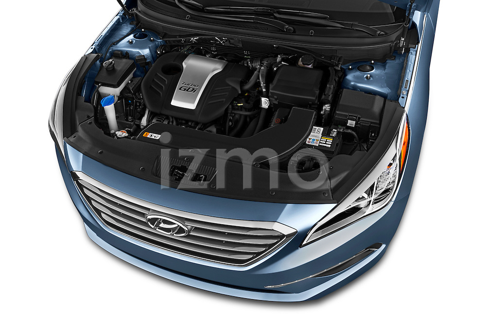 Car Stock 2017 Hyundai Sonata Eco 4 Door Sedan Engine  high angle detail view