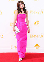LOS ANGELES, CA, USA - AUGUST 25: Actress Zooey Deschanel arrives at the 66th Annual Primetime Emmy Awards held at Nokia Theatre L.A. Live on August 25, 2014 in Los Angeles, California, United States. (Photo by Celebrity Monitor)