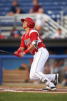 Batavia Muckdogs shortstop J.J. Gould (49) hits a home run during a game against the Brooklyn Cyclones on July 6, 2016 at Dwyer Stadium in Batavia, New York.  Batavia defeated Brooklyn 15-2.  (Mike Janes/Four Seam Images)