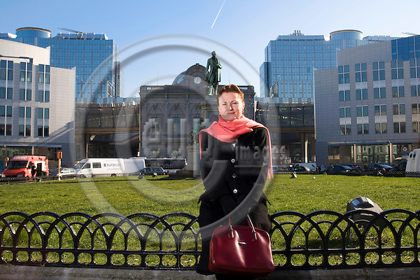 BRUSSELS - BELGIUM - 18 FEBRUARY 2008 -- Frederique BISTON, Vice President and Head of Volvo Group EU Representation in Brussels, standing at Place Luxembourg with the EU Parliament in the background.  Photo: Erik Luntang/EUP-IMAGES