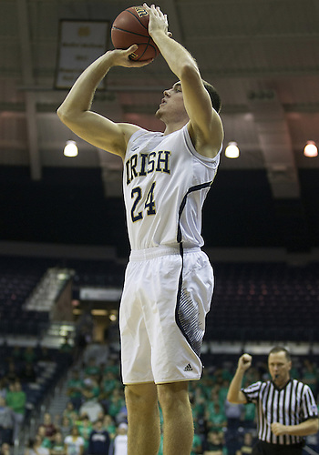 December 08, 2012:  Notre Dame guard Pat Connaughton (24) goes up for a shot during NCAA Basketball game action between the Notre Dame Fighting Irish and the Brown Bears at Purcell Pavilion at the Joyce Center in South Bend, Indiana.  Notre Dame defeated Brown 84-57.