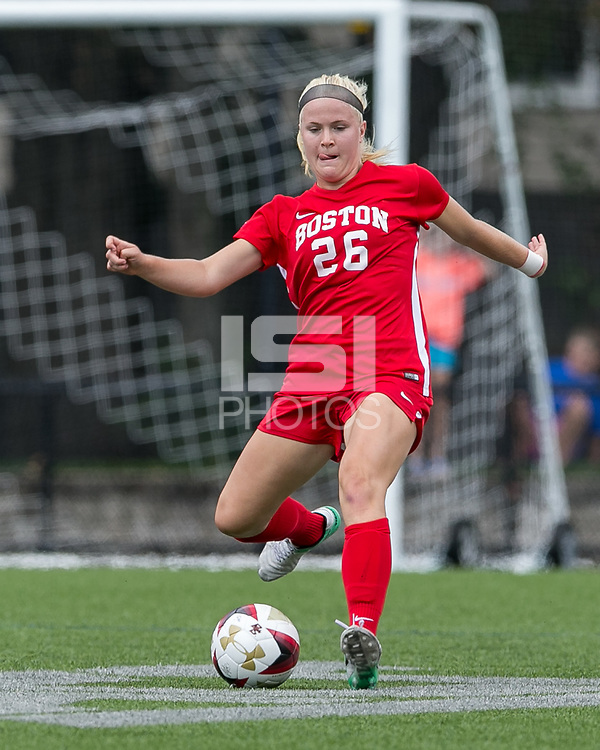 Newton, Massachusetts - September 10, 2017: NCAA Division I. Boston College (white) defeated Boston University (red), 3-0, at Newton Campus Soccer Field.