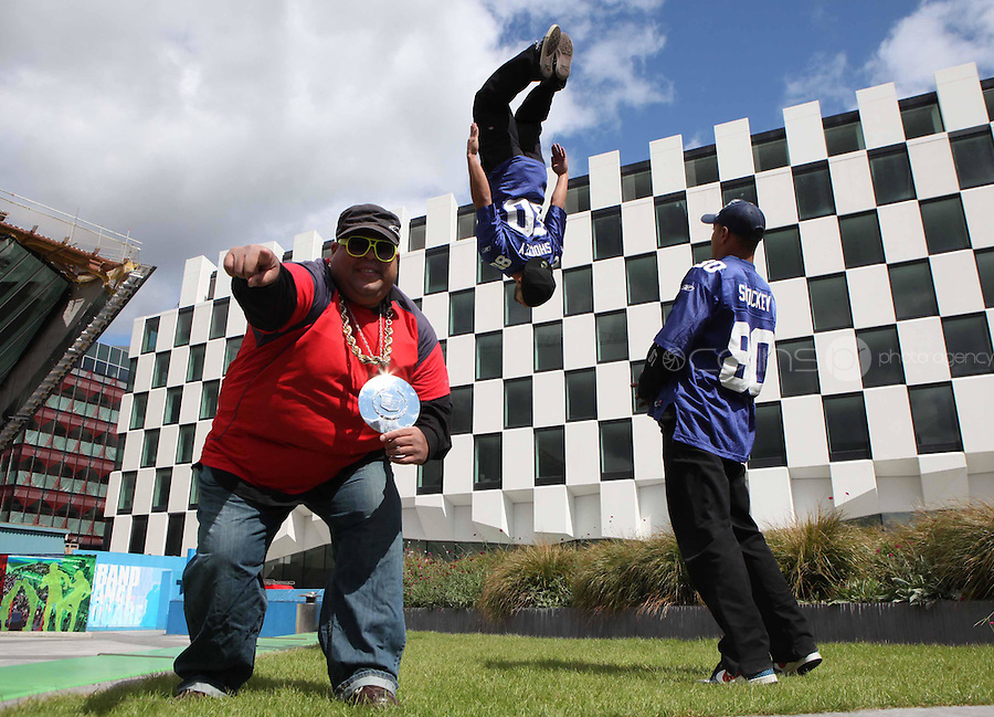 12/06/2009.USA Breakdancers (L to R).Julio Santiago,Anthony Ready Rosa & William Sanchez on Grand Canal Dock, Dublin to mark the launch of the AIB Street Performance World Championship kicks off this Saturday 13 June. Over the following 9 days the citizens of Cork (as part of the Cork Midsummer Festival) and Dublin (18-21 June) will be exposed to the whackiest and most outrageous performances the island has ever seen and will have the opportunity to vote for the AIB Street Performance World Champion 2009..Photo: Gareth Chaney Collins