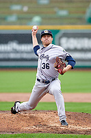 Kane County Cougars relief pitcher Ryan Miller (36) during a Midwest League game against the Fort Wayne TinCaps at Parkview Field on May 1, 2019 in Fort Wayne, Indiana. Fort Wayne defeated Kane County 10-4. (Zachary Lucy/Four Seam Images)