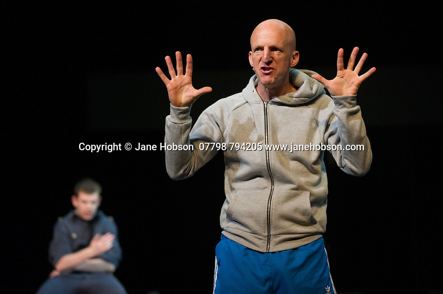 Edinburgh, UK. 09.08.2014.  GANESH VERSUS THE THIRD REICH, presented by Australian company, Back to Back Theatre, opens at the Royal Lyceum Theatre, as part of the Edinburgh International Festival. Picture shows:  David Woods and Scott Price. Photograph © Jane Hobson.