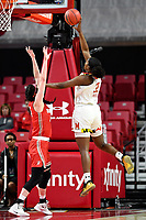 College Park, MD - March 23, 2019: Maryland Terrapins center Olivia Owens (35) shoots a hook shot over Radford Highlanders defender during first round action of game between Radford and Maryland at Xfinity Center in College Park, MD. Maryland defeated Radford 73-51. (Photo by Phil Peters/Media Images International)