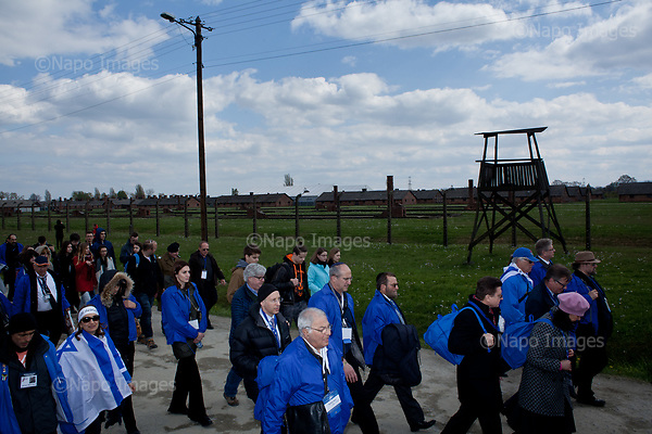 OSWIECIM, POLAND, APRIL 24, 2017:<br /> Elisha Wiesel is walking at the camp in the &quot;March of The Living&quot; an annual march between two camps of the Auschwitz concentration camp.  Elisha Wiesel is a chief technology officer at Goldman Sachs in New York and the only son of Holocaust memoirist Eli Wiesel. After death of his father he has decided to step forward and take a more public role, carrying on his father's work.<br /> (Photo by Piotr Malecki / Napo Images)<br /> ###<br /> OSWIECIM, 24/04/2017:<br /> Elisha Wiesel, syn slawnego Eli Wiesela, bierze udzial w Marszu Zywych w Oswiecimiu. Po smierci ojca Elisha postanowil kontynuoawc jego dzielo.<br /> Fot: Piotr Malecki / Napo Images<br /> <br /> ###ZDJECIE MOZE BYC UZYTE W KONTEKSCIE NIEOBRAZAJACYM OSOB PRZEDSTAWIONYCH NA FOTOGRAFII###