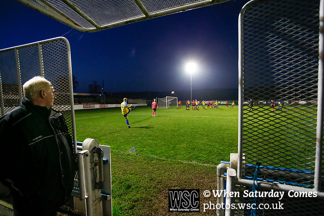 Stocksbridge's goal keeping coach watches by the tunnel as his team take a free kick in added time. Stocksbridge Park Steels v Pickering Town, Evo-Stik East Division, 17th November 2018. Stocksbridge Park Steels were born from the works team of the local British Steel plant that dominates the town north of Sheffield.<br />