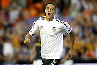 Valencia's Rodrigo celebrates goal during Champions League 2015/2016 Play-Offs 1st leg match. August  19,2015. (ALTERPHOTOS/Acero)
