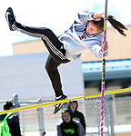 WATERTOWN CT. 16 April 2019-041619SV13-Jillian Nugai of Watertown competes in the pole vault during a track meet at Watertown High in Watertown Tuesday. Watertown hosted Woodland and Torrington in NVL boys and girls track.<br /> Steven Valenti Republican-American