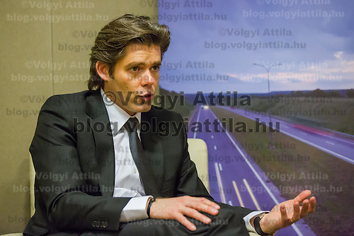 Michael Peters CEO of Euronews talks during a press conference about the start of the regional Hungarian language broadcast in Budapest, Hungary on December 11, 2012. ATTILA VOLGYI