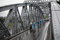 Team Astana leading the way to Torino passing a bridge<br /> <br /> stage 21: Cuneo - Torino 163km<br /> 99th Giro d'Italia 2016