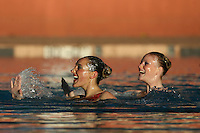 STANFORD, CA - FEBRUARY 7:  Erin Bell (left) and Alex Bollaidlaw (right) of the Stanford Cardinal during Stanford's 88-78 win against the Incarnate Word Cardinals on February 7, 2009 at Avery Aquatic Center in Stanford, California.