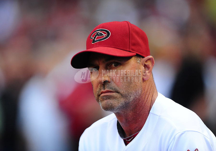 Apr. 6, 2012; Phoenix, AZ, USA; Arizona Diamondbacks manager Kirk Gibson prior to the game against the San Francisco Giants during opening day at Chase Field.  The Diamondbacks defeated the Giants 5-4. Mandatory Credit: Mark J. Rebilas-