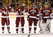 Jimmy Fraser (Harvard 9), Steve Rolecek (Harvard 19), Tyler Magura (Harvard 17), Kyle Richter (Harvard 33) - The Boston College Eagles defeated the Harvard University Crimson 6-5 in overtime on Monday, February 11, 2008, to win the 2008 Beanpot at the TD Banknorth Garden in Boston, Massachusetts.
