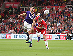 Ched Evans of Sheffield Utd in action with Ben Gibson of Middlesbrough during the Sky Bet Championship match at the Riverside Stadium, Middlesbrough. Picture date: August 12th 2017. Picture credit should read: Jamie Tyerman/Sportimage