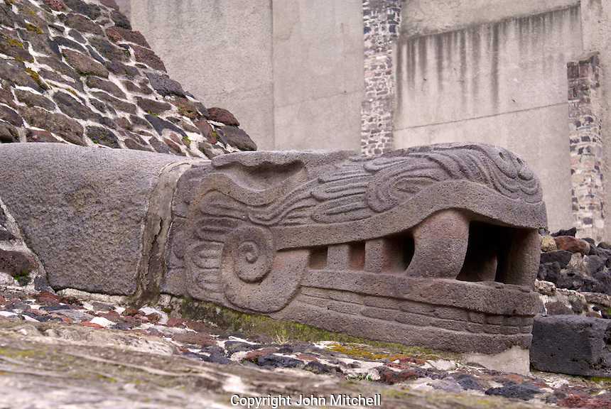 Plumed serpent head sculpture at the Aztec ruins of the Templo Mayor or Great Temple in downtown Mexico City