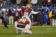 December 7, 2013  (Charlotte, North Carolina)  Florida State Seminoles kicker Roberto Aguayo #19 kicks an extra point in the ACC Championship game against the Duke Blue Devils. FSU won 45-7. (Photo by Don Baxter/Media Images International)