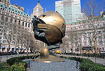 "For three decades, this sculpture stood in the plaza of the World Trade Center. Entitled ""The Sphere"" it was conceived by Fritz Keonig as a symbol of world peace. It was damaged during the tragic events of September 11,2001, but endures as an icon of hope and the indestructible spirit of this country. The Sphere was placed here on March 11, 2002 as a temporary memorial to all who lost their lives in the terrorist attacks at the World Trade Center.<br />
