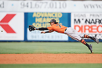 Baltimore Orioles Andrew Fregia (79) dives for a ball during a Florida Instructional League game against the Tampa Bay Rays on October 1, 2018 at the Charlotte Sports Park in Port Charlotte, Florida.  (Mike Janes/Four Seam Images)