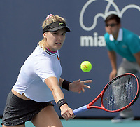 MIAMI GARDENS, FL - MARCH 18: Nao Hibino of Japan defeats Eugenie Bouchard in Miami Open qualifying match day 1 of the Miami Open Tennis Tournament at Hard Rock Stadium on March 18, 2019 in Miami Gardens, Florida.<br /> <br /> People: Genie Bouchard
