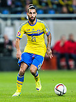 Solna 2014-10-12 Fotboll EM-kval , Sverige - Liechtenstein :  <br /> Sveriges Jimmy Durmaz i aktion <br /> (Photo: Kenta J&ouml;nsson) Keywords:  Sweden Sverige Friends Arena EM Kval EM-kval UEFA Euro European 2016 Qualifying Group Grupp G Liechtenstein
