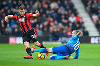 Jack Wilshere of Arsenal right tackles Ryan Fraser of AFC Bournemouth  during AFC Bournemouth vs Arsenal, Premier League Football at the Vitality Stadium on 14th January 2018