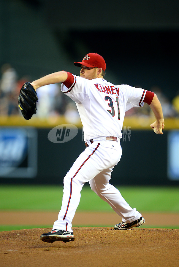 Apr. 17, 2012; Phoenix, AZ, USA; Arizona Diamondbacks pitcher Ian Kennedy throws in the first inning against the Pittsburgh Pirates at Chase Field.Mandatory Credit: Mark J. Rebilas-