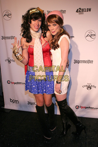 HAYLIE DUFF & HILARY DUFF.The AirParty Hollywood Halloween Benefit for the Trevor Project held at Henson Studios, Hollywood, California..October 30th, 2005.Photo: Zach Lipp/AdMedia/Capital Pictures.Ref: ZL/ADM.full length costume dress up Wonder Woman red blue skirt black boots white dress pink hat crown sisters siblings .www.capitalpictures.com.sales@capitalpictures.com.© Capital Pictures.
