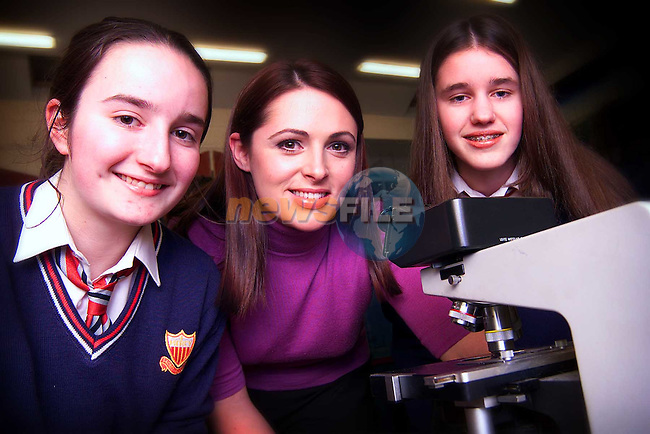 Sacred Hearts students Karina Bracken from Togher and Aoife McKenna from Duleek with TV3's Grainne Seoige at the events and careers night in St. Mary's School..Picture: Paul Mohan/Newsfile