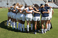 BERKELEY, CA - Sept 16th, 2016: The Cal Women's Soccer team huddles up before playing the University of San Francisco on Goldman Field at Edwards Stadium.