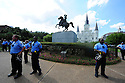 Black Lives Matters activists and Take Em Down supporters protest at the Andrew Jackson statue in Jackson Square