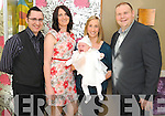 Baby Charlotte Rose Ellen O'Mahony, Kenmare, who was christened in the Holy Cross Church, Kenmare, on Saturday, pictured afterwards with her parents Patrick and Karen O'Mahony and godparents Vincent and Fiona O'Leary celebrating in the Brook Lane Hotel, Kenmare.