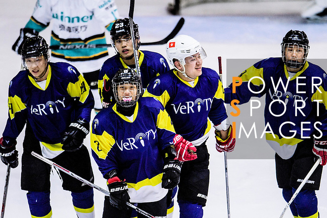 Verity Skater #12 Leo Kan (c) celebrates with his teammates after scoring during the Principal Standard League match between Medical Winner Kings vs Verity at the Mega Ice on 17 January 2017 in Hong Kong, China. Photo by Marcio Rodrigo Machado / Power Sport Images