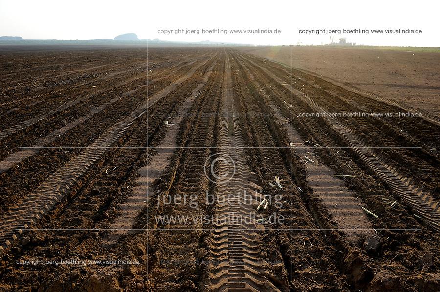 Afrika ANGOLA Malange , Biocom Projekt, Joint venture zwischen Konzern Odebrecht aus Brasilien und Sonangol, staatliche Oelgesellschaft Angolas, und weiteren Investoren u.a. Tocher des Praesidenten Dos Santos, auf einigen tausend Hektar wird Zuckerrohr fuer Produktion von Zucker und Bioethanol angebaut, die Zuckerfabrik ist im Bau und soll 240.000 Tonnen Zucker pro Jahr herstellen, dazu kommen 30 Millionen Liter Ethanol und 70 Megwatt Strom aus Bagasse von einem Biomassekraftwerk, Plantage und Zuckerfabrik sollen 1470 Menschen beschaeftigen, Pflanzung von Zuckerrohr / ANGOLA Malange , Biocom Project, sugar factory and large farm for production of sugar cane for 240.000 tons sugar and 30billion litre bio ethanol