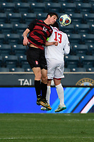 Chester, PA - Sunday December 10, 2017: Drew Skundrich, Francesco Moore. Stanford University defeated Indiana University 1-0 in double overtime during the NCAA 2017 Men's College Cup championship match at Talen Energy Stadium.