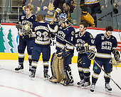 Sean Lorenz (Notre Dame - 24), Calle Ridderwall (Notre Dame - 22), Steven Summerhays (Notre Dame - 1), Sam Calabrese (Notre Dame - 8), Jeff Costello (Notre Dame - 11) - The University of Minnesota-Duluth defeated the University of Notre Dame Fighting Irish 4-3 in their 2011 Frozen Four Semi-Final on Thursday, April 7, 2011, at the Xcel Energy Center in St. Paul, Minnesota.