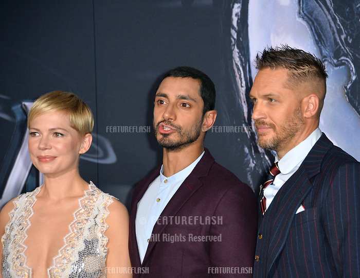 LOS ANGELES, CA. October 01, 2018: Michelle Williams, Riz Ahmed &amp; Tom Hardy at the world premiere for &quot;Venom&quot; at the Regency Village Theatre.<br /> Picture: Paul Smith/Featureflash