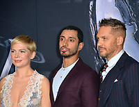 "LOS ANGELES, CA. October 01, 2018: Michelle Williams, Riz Ahmed & Tom Hardy at the world premiere for ""Venom"" at the Regency Village Theatre.<br /> Picture: Paul Smith/Featureflash"