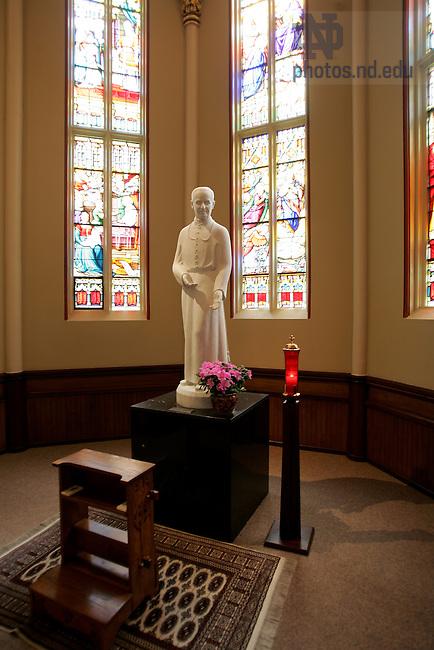 Statue of Blessed Bro. André Bessette, C.S.C...Photo by Matt Cashore..