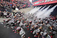 The Ohio State Buckeyes take the field prior to the NCAA football game against the Penn State Nittany Lions at Ohio Stadium in Columbus on Oct. 28, 2017. Ohio State is wearing special gray and black uniforms for the matchup of top-10 teams. [Adam Cairns/Dispatch]