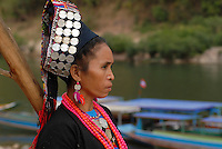 Lao PDR , woman of Akha tribe in Muang Khua at Nam Ou river , a branch of Mecong river / LAOS Mekong Region, <br /> Frau vom Akha Stamm in Muang Khua am Nam Ou Fluss , ein Zufluss des Mekong