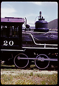 RGS #20 - engineer's-side close-up of cab, steam dome, wheels as displayed at Colorado Railroad Museum.<br /> RGS  Golden, CO  ca. 1970