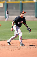 Brock Bond #17 of the San Francisco Giants plays in a minor league spring training game against the Arizona Diamondbacks at the Giants minor league complex on March 16, 2011  in Scottsdale, Arizona. .Photo by:  Bill Mitchell/Four Seam Images.