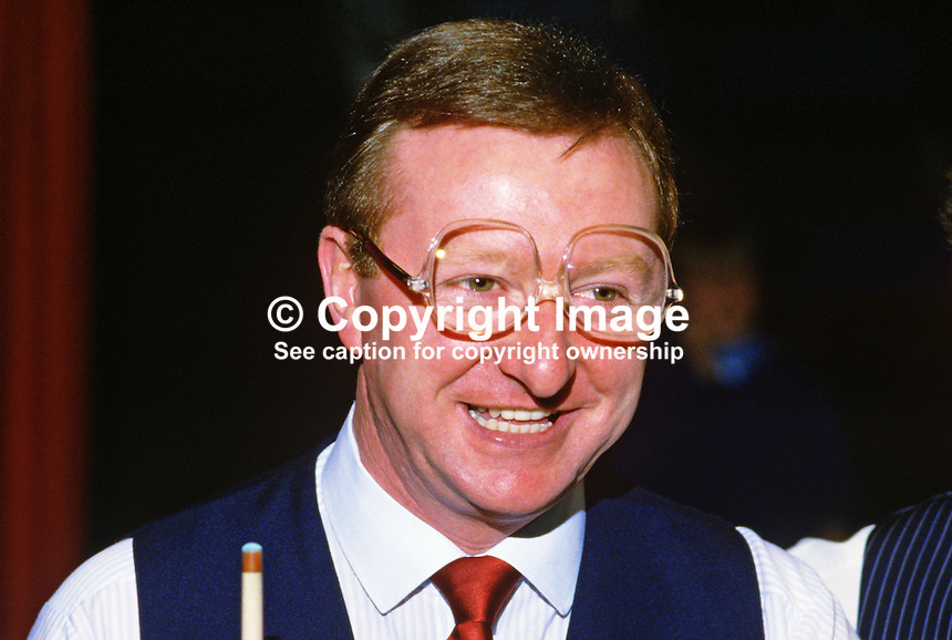 Dennis Taylor, N Ireland, professional snooker player, Irish Masters, Goffs, Rep of Ireland, 198503000032n.<br /> <br /> Copyright Image from Victor Patterson, 54 Dorchester Park, Belfast, UK, BT9 6RJ<br /> <br /> t1: +44 28 9066 1296 (from Rep of Ireland 048 9066 1296)<br /> t2: +44 28 9002 2446 (from Rep of Ireland 048 9002 2446)<br /> m: +44 7802 353836<br /> <br /> e1: victorpatterson@me.com<br /> e2: victorpatterson@gmail.com<br /> <br /> The use of my copyright images is subject to my Terms &amp; Conditions.<br /> <br /> It is IMPORTANT that you familiarise yourself with them. They are available on my website at www.victorpatterson.com.<br /> <br /> None of my copyright images may be used on a website unless they are visibly watermarked, i.e. &copy; Victor Patterson within the body of the visible image. Metadata denoting my copyright must NOT be deleted. <br /> <br /> Web use is extra at currently recommended NUJ rates.